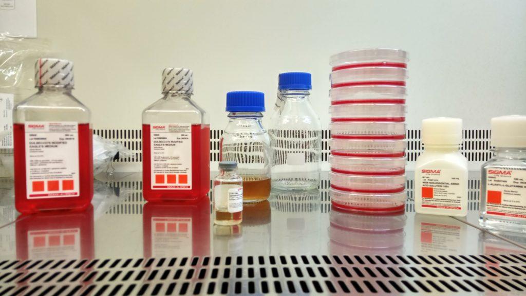 Vista laboratorio de cultivos. Reactivos y medios de cultivo generales