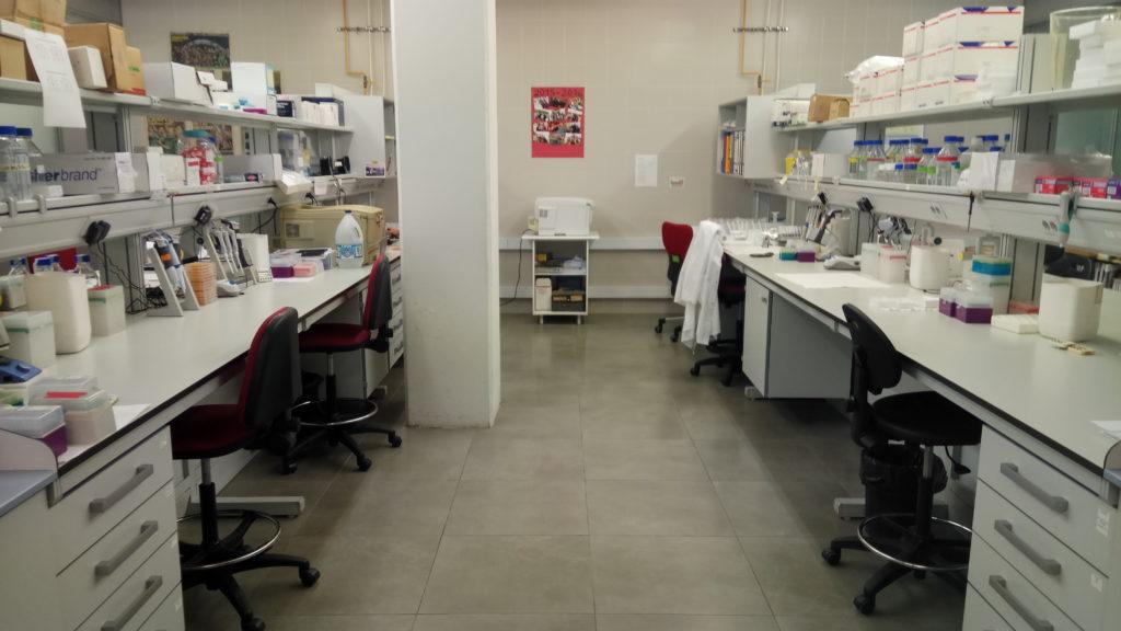 Vista laboratorio inmunoquímica analítica. Puestos de tr abajo